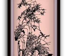Handmade Papercutting papercut chinoiserie Art Work - Bamboo and orchid in rocks - Limited Edition