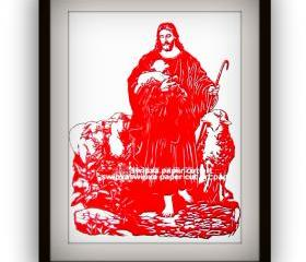 Christmas Sale - Xmas Deal - Handmade Papercutting Papercut Art Work - Our god - the jesus - in red