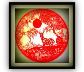 Handmade Papercut -Crane and deer with Pine tree - in red color