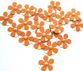 Teeny Tiny Tangerine and White Flowers - Set of 20