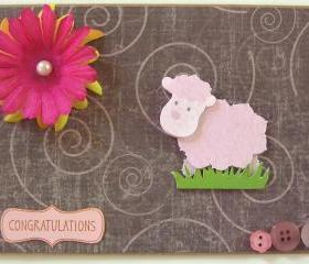 Pink Baby Lamb - Handmade Baby/Baby Shower Greeting Card