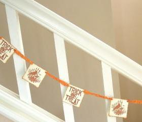 Vintage Inspired Jack-O-Lantern Orange Halloween Garland - 1 yard