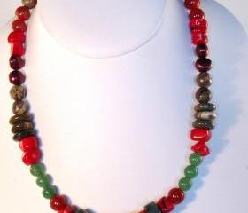 Jasper Multi Colour Necklace Gemstone Handmade Jewelry