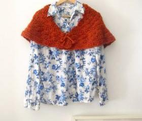 Romantic crochet capelet, shawl in burnt orange