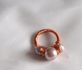 Lilac Shell Pearl Ring Handmade Jewelry
