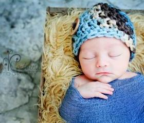 Crochet baby boy chunky button beanie in blue, tan, and brown photo prop - newborn size