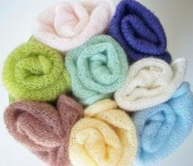 Mohair wrap - Baby wrap - Newborn baby wrap - Photography prop -Knit mohair blanket - Stretching baby wrap -Baby cocoon -Pink- White- Blue- Green -Grey- Lilac- Purple- Brown- yellow