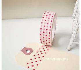 Washi Tape White with Red Polka dot