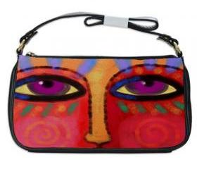 Shoulder Clutch Handbag Printed with My Funky Abstract Face Painting