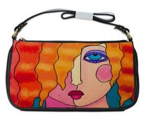 Shoulder Clutch Handbag Printed with My Funky Abstract Portrait of a Woman