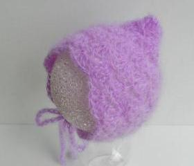 Baby hat - Photo prop - Baby mohair hat -Baby bonnet - Newborn baby hat -Crochet hat -Mohair bonnet - Buttery yellow - Pale yellow -Pixie hat