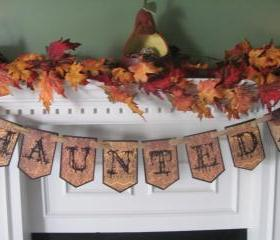 Victorian 'Haunted' Halloween Banner featuring Gothic Styled Lettering