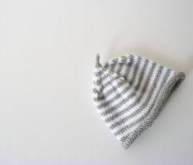 Baby hat - Newborn baby - Knit stripped hat -Baby beanie - Baby boy - Photography prop - Grey - White