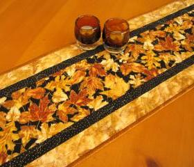 Gold Leaves Fall Table Runner