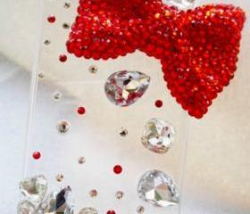 New Bling Sparkle Crystal Big Red Bow Rhinestones iPhone 4/4S Case