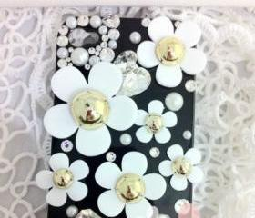 Bling White Flowers Tiny Crystals Pearls On Black/White Case For iPhone 4/4S 