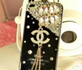 New Bling Four-Leaf Clover With Gold Logo And Crystals On Black iPhone 4/4S Case