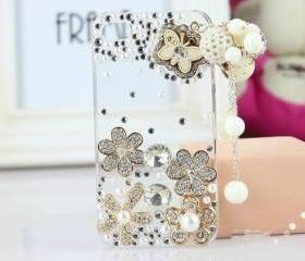 New Bling Crystal Wooden Butterfly Tassel iPhone 4/4S Case