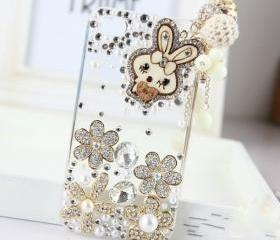 New Bling Crystal Wooden Rabbit Tassel iPhone 4/4S Case