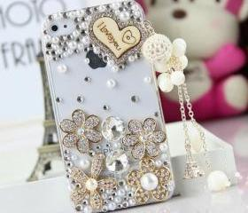 New Bling Crystal Wooden Heart Tassel iPhone 4/4S Case