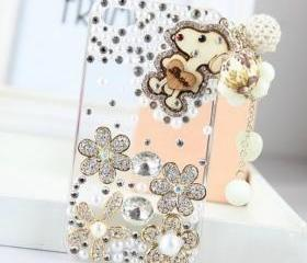New Bling Crystal Wooden Dog Tassel iPhone 4/4S Case
