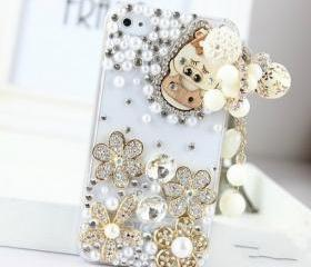 New Bling Crystal Wooden Pig Tassel iPhone 4/4S Case
