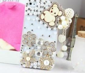 New Bling Crystal Wooden Bear Tassel iPhone 4/4S Case