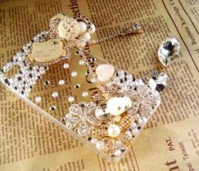 New Bling Crystal Wooden Kitty Cat Tassel iPhone 4/4S Case