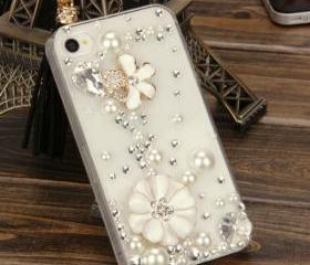 Bling Sparkle Crystal Lucky Flower, Pearls and rhinestones iphone 4/4S Case, #744