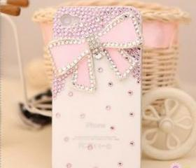 New Bling Big Pink Butterfly With Tiny Pink Crystals On White Case For iPhone 4/4S