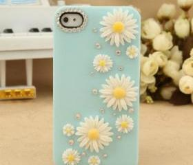 New Bling Crystal Sparkle White Flowers Rhinestones Blue iPhone 4/4S Case