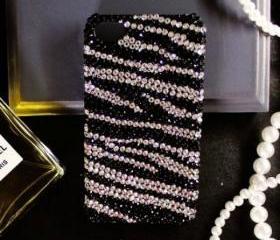New Bling Crystal Sparkle Black & White Zebra Pattern iPhone 4/4S Case