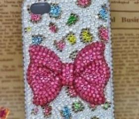 New Bling Crystal Sparkle Pin Bow Colorful Leopard Pattern Rhinestones iPhone 4/4s Case
