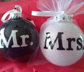 "Personalized Glass Glittered Ornaments 4"" Wedding Bridel His Hers Mr. & Mrs Christmas Gift"
