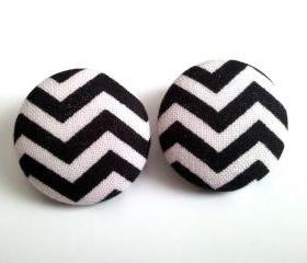 Black and white chevron large button earrings