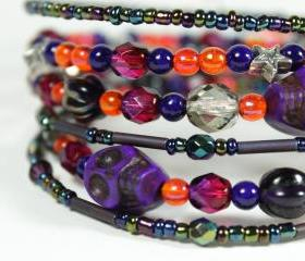 purple and orange skull memory wire bracelet