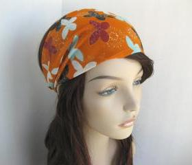 Headband Head Wrap Dreadband Women's Gypsy Hippie Bandana Orange with Butterflies Cotton Fabric