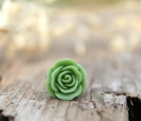 Apple Green Rose Flower Ring // Bridesmaid Gifts // Maid of Honor Gifts // Rustic Vintage Wedding