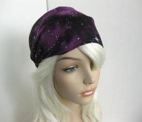 Fabric Headband Women's Head Wrap Cosmic Universe Yoga Bandana Galaxy Print Black and Purple