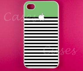 Iphone 4 Case - Green White Stripes Iphone 4s Case, Iphone Case
