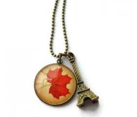 Romantic Autumn in Paris Handmade Glass Charm Necklace Red Brown