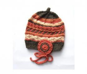 Warm Silk Beanie - High Quality Natural Product - Size 12 Month - Material: 1/2 Silk & 1/2 Wool - Swisshandmade