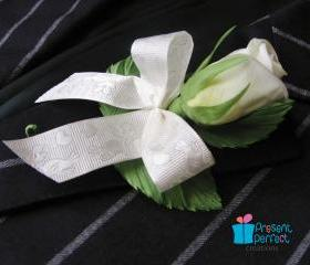 Silk wedding rose boutonniere for groom