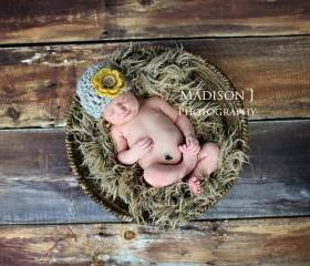 Crochet baby girl chunky detachable flower beanie hat in grey and mustard photo prop- newborn size
