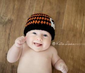 Crochet ghost beanie for newborn boy and newborn girl halloween hat photo prop - newborn size
