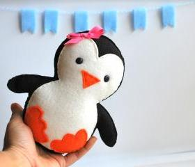 Baby Penguin Plush, adorable Fleece / felt baby plush, eco friendly children toy A315