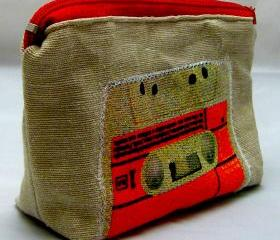 Retro Applique Purse - Red Zipper