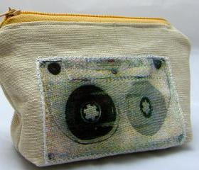 Retro Cassette Applique Purse - Yellow Zipper