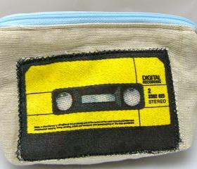 Retro Cassette Applique Purse - Blue Zipper
