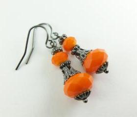 Victorian Halloween Orange Pumpkin Earrings Beaded Earrings